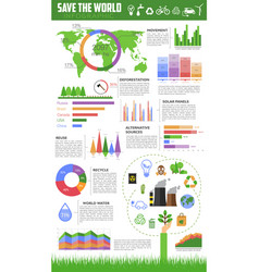 save the world infographic for ecology design vector image