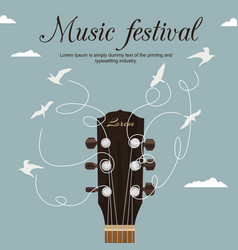 Guitar neck with strings turn into white birds vector