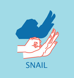 Shadow theater hands gesture like snail vector