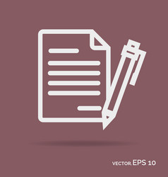 Contract outline icon white color vector