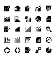 Business charts and diagrams solid icons 3 vector