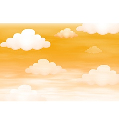 Orange sky with clouds vector