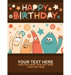 Birthday card with cute kittens vector image