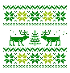 White knitted scandinavian scarf with deer vector
