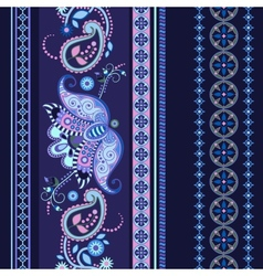 Striped seamless ethnic pattern paisley wallpaper vector