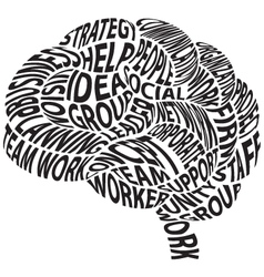 Conceptual abstract word cloud in brain shape vector