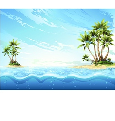 Tropical island in ocean  palm on island vector