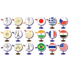 Flag and attractions in world globe vector