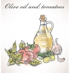 Olive oil and tomatoes vector