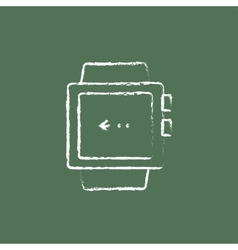 Smartwatch icon drawn in chalk vector