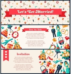 Flat design wedding and marriage invitation vector