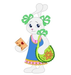 Hare girl with a envelope vector