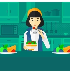 Woman eating salad vector