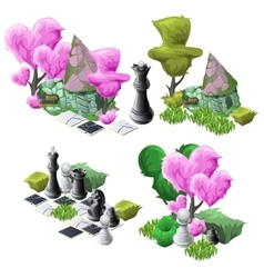 Scenery with topiary trees chess and fairy house vector