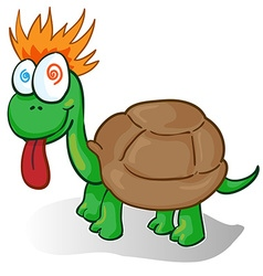 A foolish cartoon turtle vector
