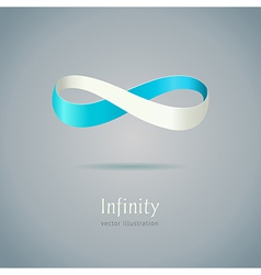 Abstract blue infinity symbol on gray background vector