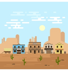 an old western town in a daytime Saloon hotel and vector image vector image