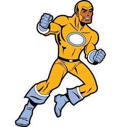 Black superhero with clenched fists fighting vector
