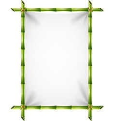 Cartoon of blank sign with bamboo frame vector