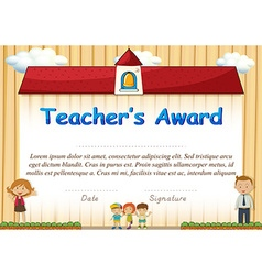 Certificate with students and school in background vector