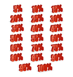 discount numbers 3d red sale percentage vector image vector image