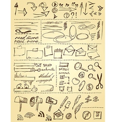 Doodles set for web site design vector image