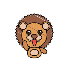 Draw lion animal comic vector