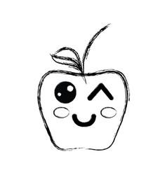 Figure kawaii funny and nice apple fruit vector