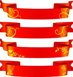 Floral red banners vector image