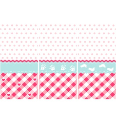 Girl pattern pink wallpaper set vector