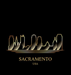 Gold silhouette of sacramento on black background vector