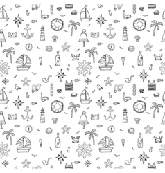 Hand drawn seamless pattern with nautical elements vector image vector image