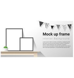Interior poster mock up with empty frames vector