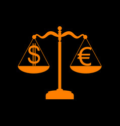 Justice scales with currency exchange sign orange vector