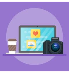 laptop coffee camera vector image vector image