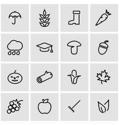Line autumn icon set vector