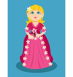 Little cartoon princess with flowers vector image