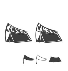 Monochrome emblem of a tent with a flag logo for vector