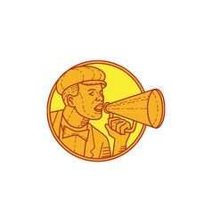Movie director megaphone vintage circle mono line vector