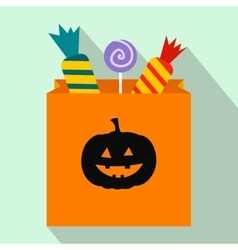 Package candy on halloween flat icon vector