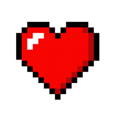Pixel art heart love color icon valentine vector