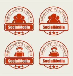 Round stamp social networking of the internet set vector