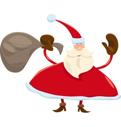 santa claus with sack cartoon vector image