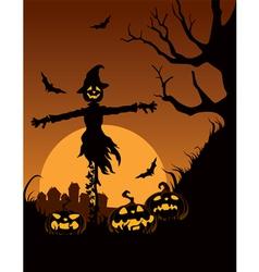 Scarecrow in halloween night vector
