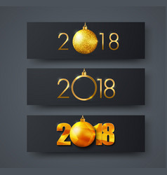 set of black horizontal web banners with golden vector image vector image
