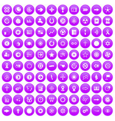 100 graphic elements icons set purple vector