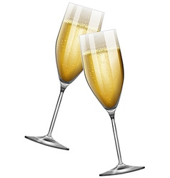 Two champagne glasses on white vector