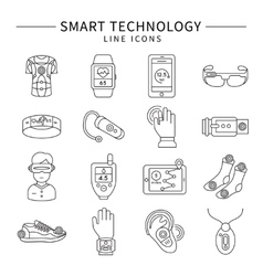 Smart technology monochrome linear icons vector