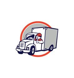 Delivery Van Driver Thumbs Up Circle Cartoon vector image