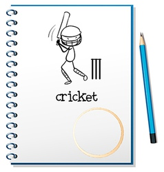 A notebook with a sketch of a man playing cricket vector image